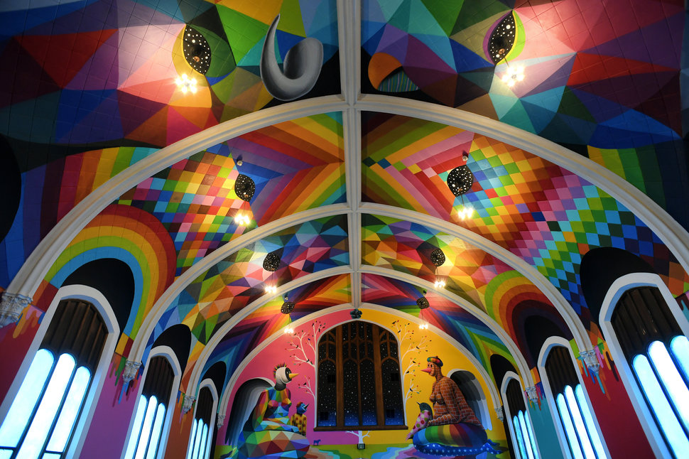 DENVER, CO - MARCH 11: This is a photo of the interior of the International Church of Cannabis at 400 south Logan street on March 11, 2017 in Denver, Colorado. The interior painting was done by artist Okuda San Miguel. The members of this new church call themselves Elevationists and say that the use of cannabis helps elevate people to a higher form of themselves. They plan to open their doors to the public on April 20th and have a weekend of events planned for the neighborhood to introduce people to this new and unique concept for a church.  (Photo by Helen H. Richardson/The Denver Post via Getty Images)