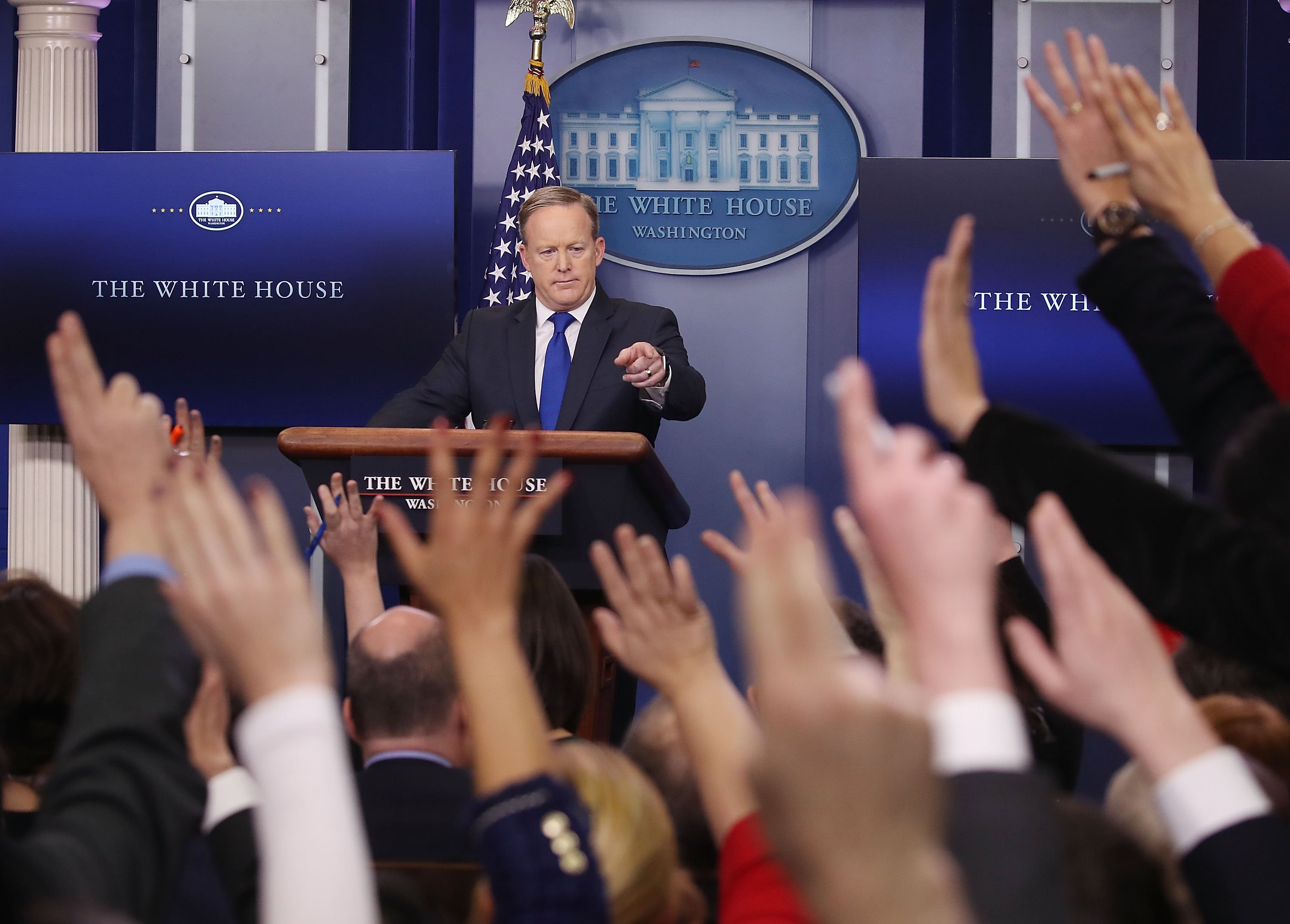 WASHINGTON, DC - FEBRUARY 01:  White House Press Secretary Sean Spicer takes questions from reporters in the Brady Press Briefing Room at the White House February 1, 2017 in Washington, DC.  (Photo by Mark Wilson/Getty Images)
