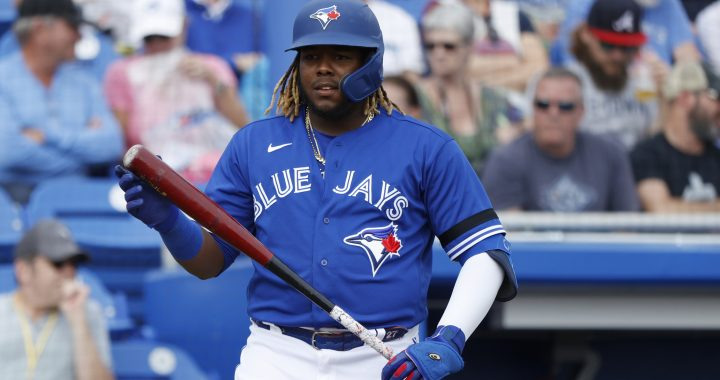 DUNEDIN, FL - FEBRUARY 24: Vladimir Guerrero Jr. #27 of the Toronto Blue Jays looks on during a Grapefruit League spring training game against the Atlanta Braves at TD Ballpark on February 24, 2020 in Dunedin, Florida. The Blue Jays defeated the Braves 4-3. (Photo by Joe Robbins/Getty Images)